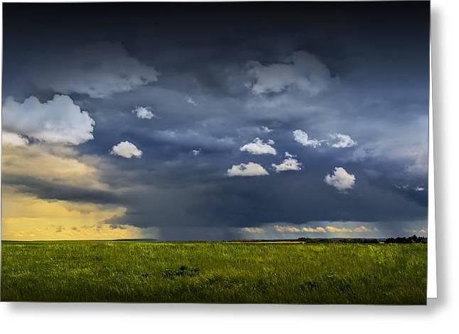 Alberta Prairie Landscape Greeting Cards - Storm on the Prairie in Alberta Greeting Card by Randall Nyhof