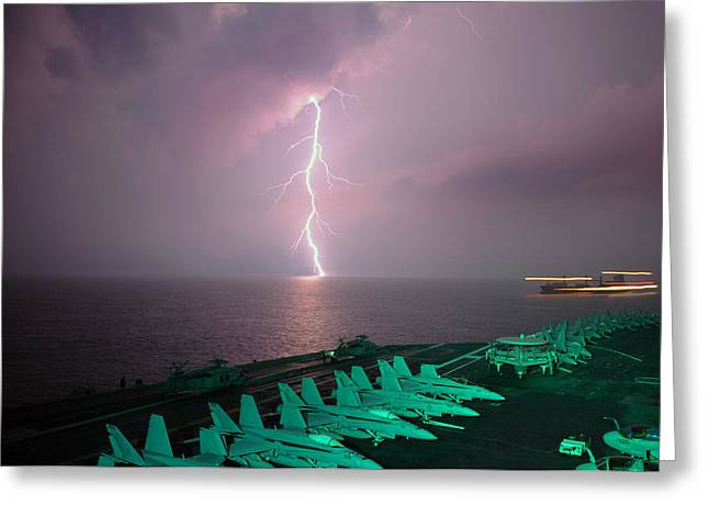 Straits Of Malacca Greeting Cards - Storm on the Strait Greeting Card by Mountain Dreams