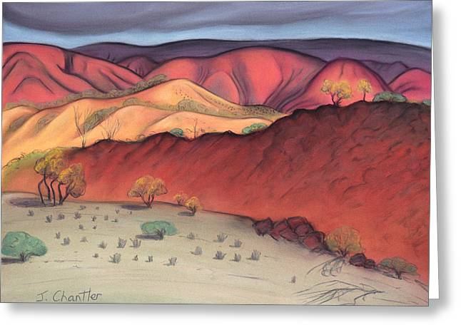 Storm Prints Pastels Greeting Cards - Storm Outback Australia Greeting Card by Judith Chantler
