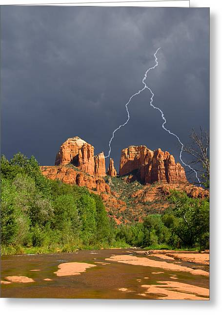 Cathedral Rock Greeting Cards - Storm over Cathedral Rock Greeting Card by Alexey Stiop
