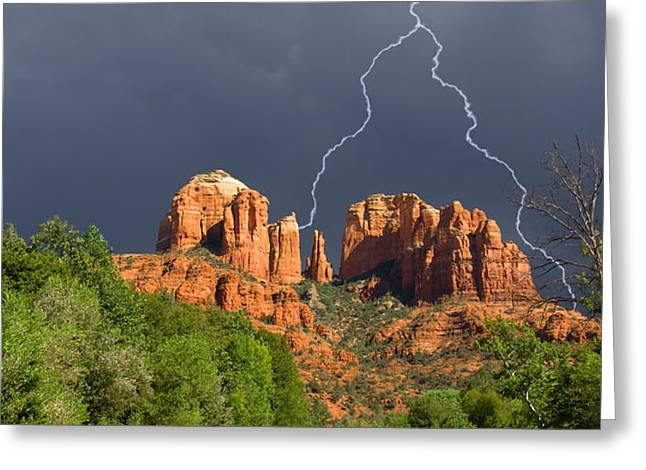 Storm over Cathedral Rock Greeting Card by Alexey Stiop