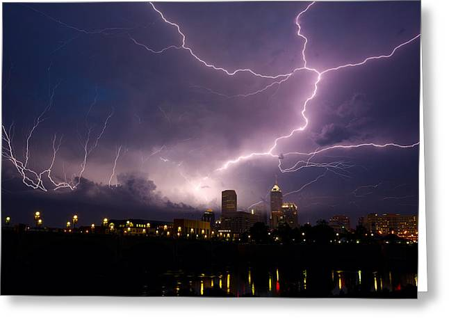Thunderstorm Greeting Cards - Storm over city Greeting Card by Alexey Stiop