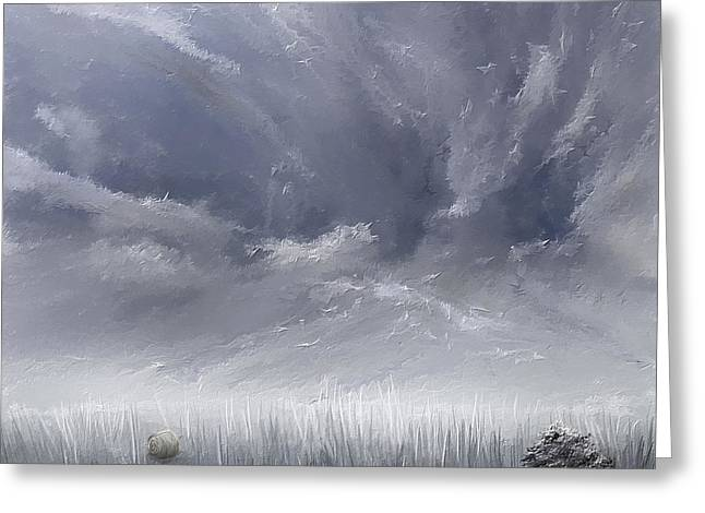 Eerie Greeting Cards - Storm Over Hayfield- Navy and Gray Art- Hayfield Art Greeting Card by Lourry Legarde