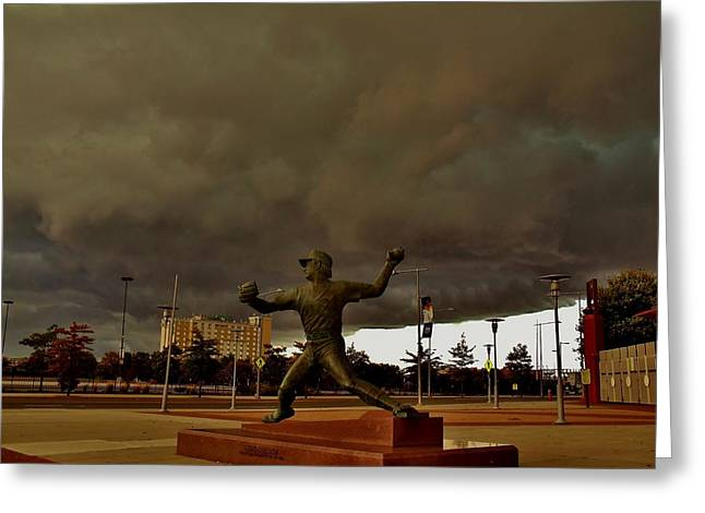 Storm Over Lefty Greeting Card by Ed Sweeney