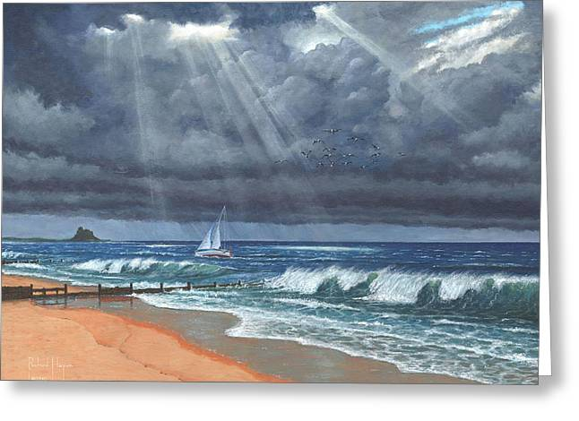 Northumberland Greeting Cards - Storm over Lindisfarne Greeting Card by Richard Harpum