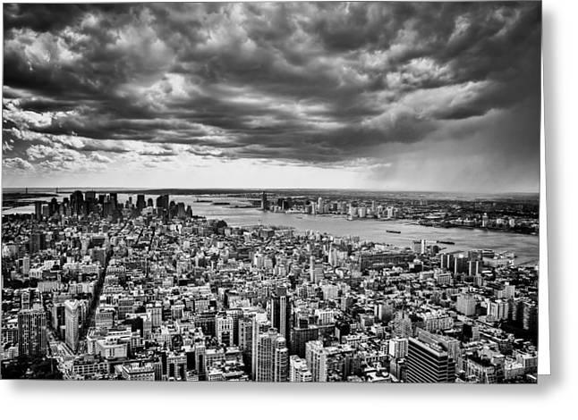 Manhatan Greeting Cards - Storm Over New York City Greeting Card by Poliana DeVane