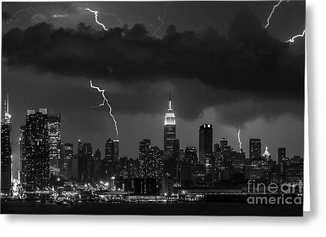 Storm Prints Digital Art Greeting Cards - Storm over NYC  Greeting Card by Jerry Fornarotto