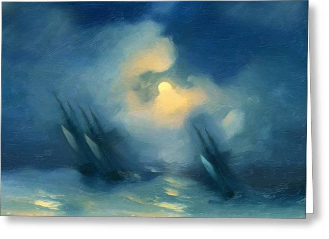 Abstract Seascape Mixed Media Greeting Cards - Storm Over Rough Seas Abstract Realism Greeting Card by Georgiana Romanovna