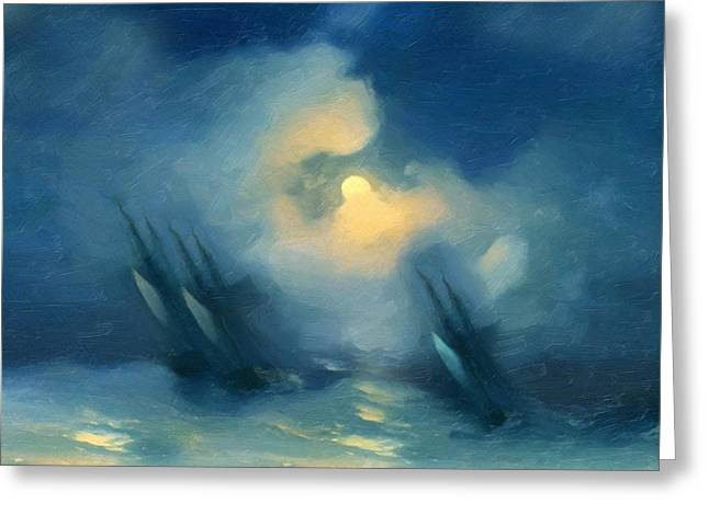 Storm Over Rough Seas Abstract Realism Greeting Card by Georgiana Romanovna