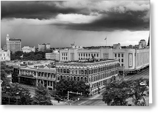 Del Rio Texas Greeting Cards - Storm over San Antonio Texas Skyline Greeting Card by Silvio Ligutti