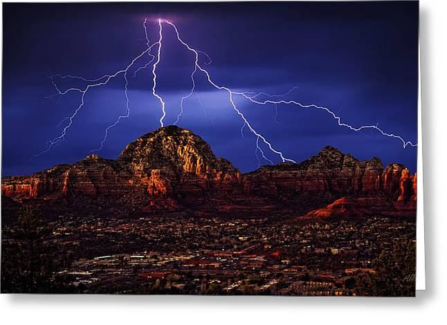 Sedona Red Rock Greeting Cards - Storm Over Sedona AZ Greeting Card by Robert Albrecht