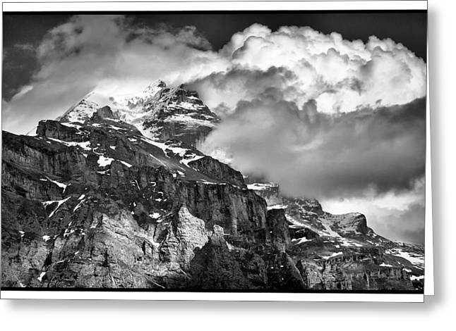 Murren Greeting Cards - Storm over the Jungfrau  Greeting Card by Adele Buttolph