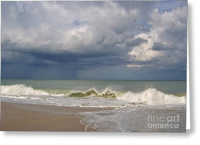Storm Cloud On The Horizon Greeting Cards - Storm Over The Ocean Greeting Card by D Hackett