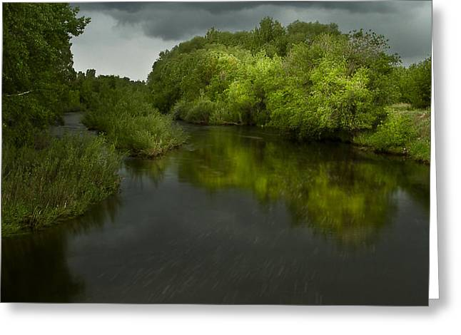 Storm over the Poudre Greeting Card by Michael Van Beber