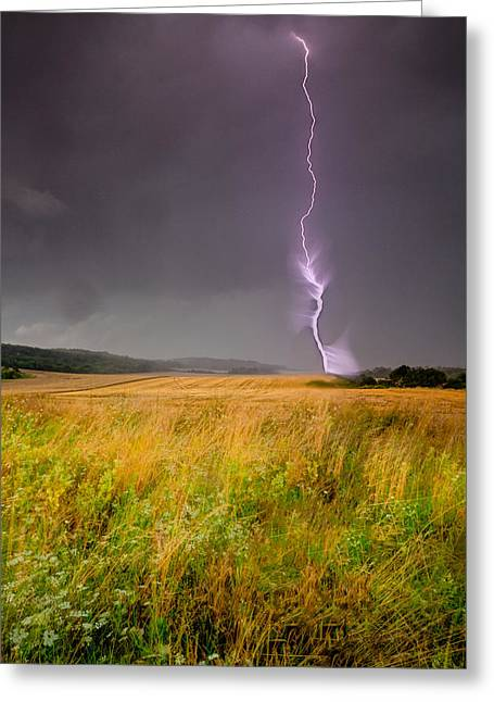 Cereal Digital Art Greeting Cards - Storm over the wheat fields Greeting Card by Eti Reid