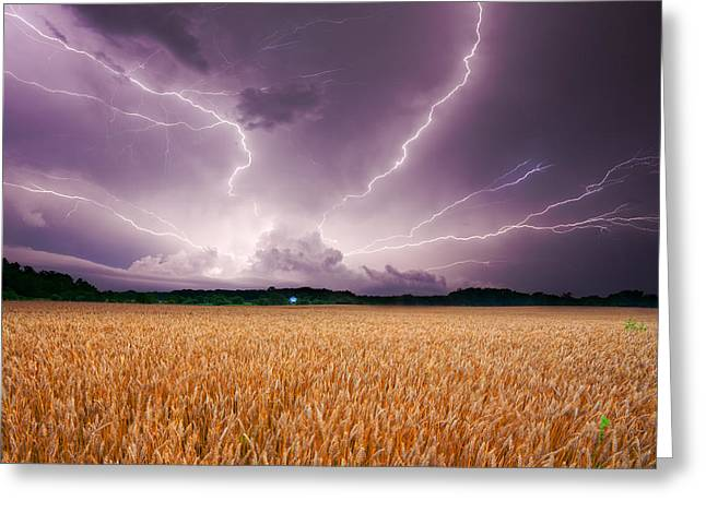 Indiana Landscapes Greeting Cards - Storm over wheat Greeting Card by Alexey Stiop
