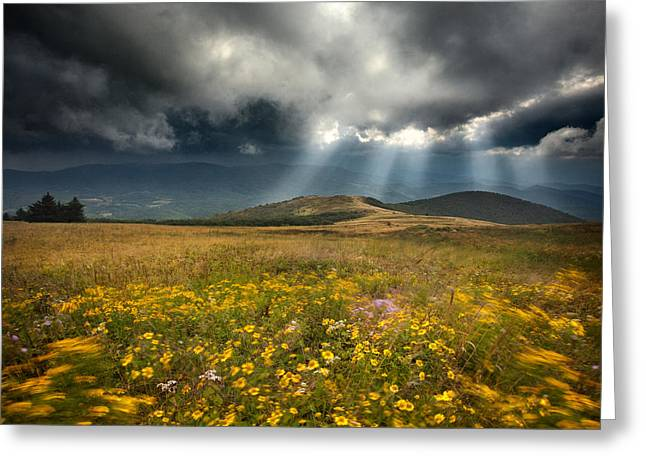 Clounds Greeting Cards - Storm Over Whitetop Mountain 2 Greeting Card by Steven Llorca
