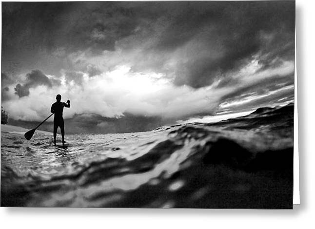 Stand-up Greeting Cards - Storm paddler Greeting Card by Sean Davey