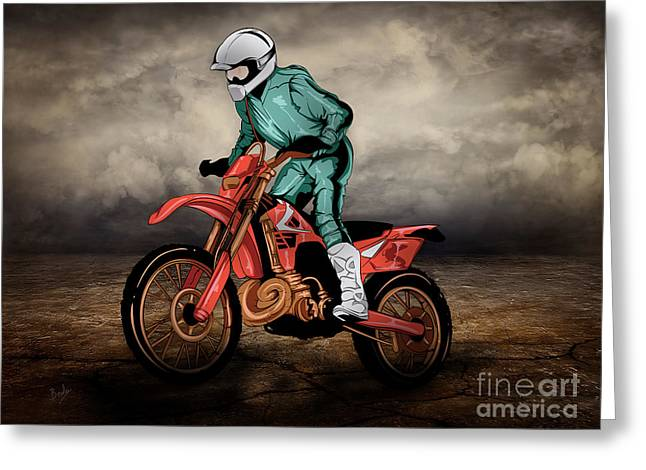 Storm Mixed Media Greeting Cards - Storm Rider V1 Greeting Card by Bedros Awak