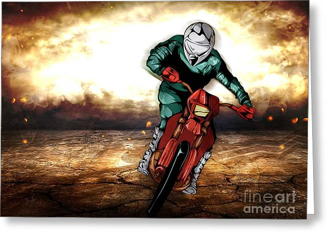 Man Pyrography Greeting Cards - Storm Rider V2 Greeting Card by Bedros Awak