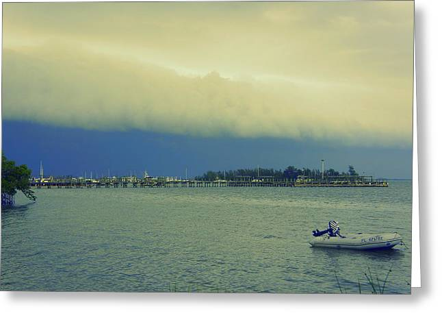 Turbulent Skies Greeting Cards - Storm Rollin In Greeting Card by Laurie Perry