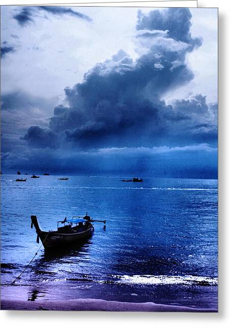 Justin Woodhouse Greeting Cards - Storm Rolls over the Sea Greeting Card by Justin Woodhouse