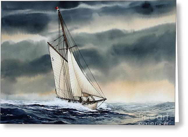 Storm Prints Paintings Greeting Cards - Storm Sailing Greeting Card by James Williamson