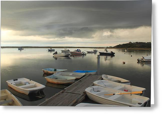 Truro Greeting Cards - Storm Skies over Pamet Harbor Cape Cod Bay Greeting Card by John Burk