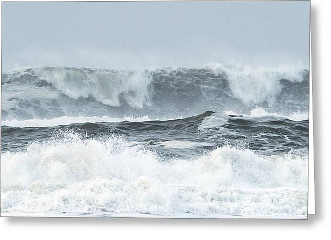Blue Green Water Tapestries - Textiles Greeting Cards - Storm Surge Greeting Card by Dennis Bucklin
