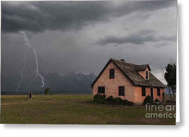 Photography Lightning Greeting Cards - Stormy Teton Morning Greeting Card by Sandra Bronstein