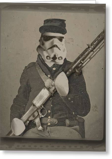 Storm Prints Greeting Cards - Storm Trooper Star Wars Antique Photo Greeting Card by Tony Rubino