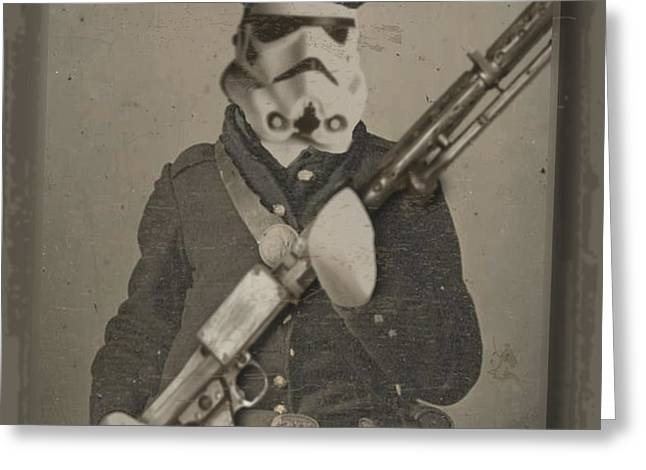 Best Sellers -  - Storm Prints Greeting Cards - Storm Trooper Star Wars Antique Photo Greeting Card by Tony Rubino