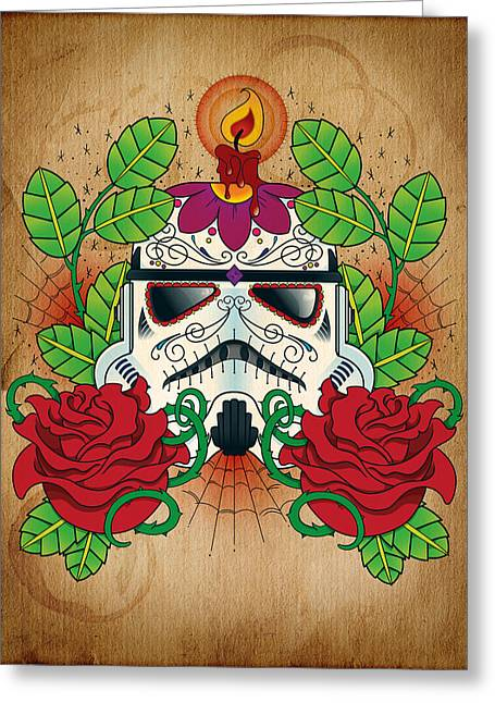 Star Greeting Cards - Storm Trooper Sugar Skull Greeting Card by Samuel Whitton