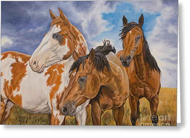 Quarter Horses Paintings Greeting Cards - Storm Warning Greeting Card by Jana Goode