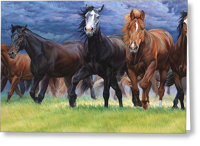 Horse Herd Greeting Cards - Storm warning Greeting Card by JQ Licensing