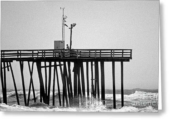 Ocean Images Greeting Cards - STORM WATCH BnW Greeting Card by Skip Willits