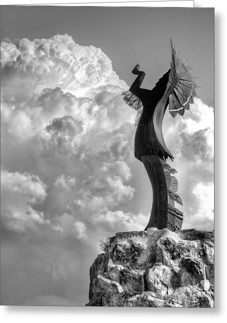 Native American Sculptures Photographs Greeting Cards - Storm Watcher BW Greeting Card by JC Findley