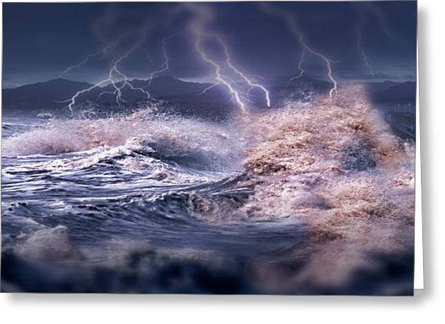 Lightning Photography Photographs Greeting Cards - Storm Waves Hitting Concrete Greeting Card by Panoramic Images
