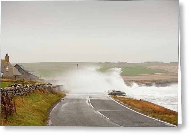 Storm Waves On Greeting Card by Ashley Cooper