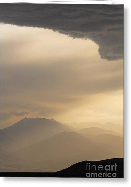 Central Asia Greeting Cards - Stormclouds and sunset above mountains at Toktogul in Kyrgyzstan Greeting Card by Robert Preston