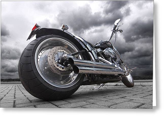 Bike Trip Greeting Cards - Storming Harley Greeting Card by Gill Billington