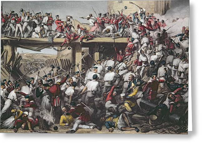 Bayonet Greeting Cards - Storming Of Delhi, Engraved By T.h. Sherratt, Published By The London Printing And Publishing Greeting Card by Matthew Matt Somerville Morgan