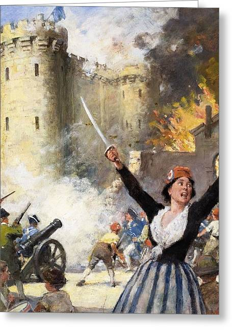 French Revolution Greeting Cards - Storming The Bastille Greeting Card by English School