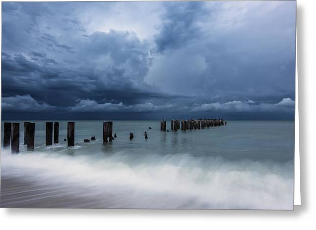 Piling Greeting Cards - Storms a Comin Greeting Card by Mike Lang