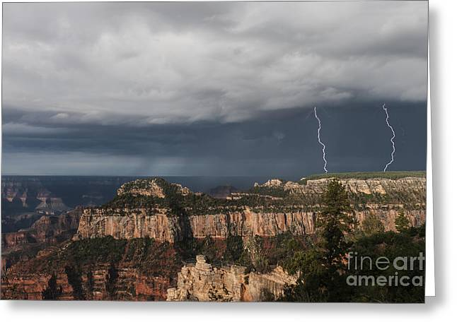 Electrical Storm Greeting Cards - Storms at the Grand Canyon North Rim Greeting Card by Sandra Bronstein