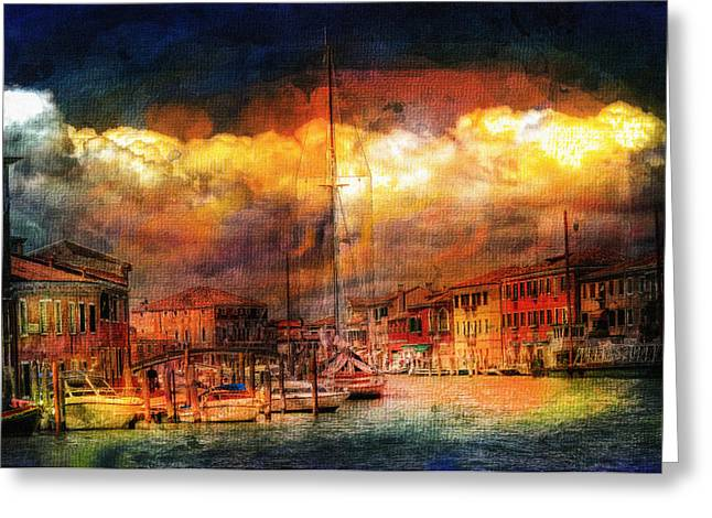 Storm Art Greeting Cards - Storms In Venice Greeting Card by Georgiana Romanovna