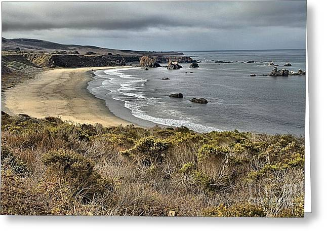 Storms Over An Unspoiled Beach Greeting Card by Adam Jewell