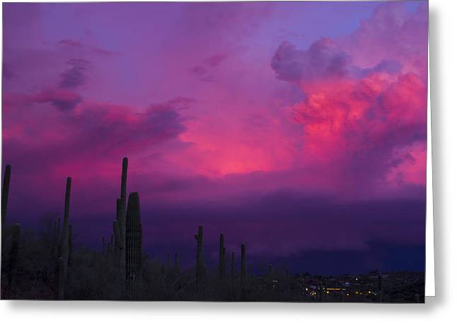 Scottsdale Lightning Greeting Cards - Storms Over Cave Creek Greeting Card by Cathy Franklin