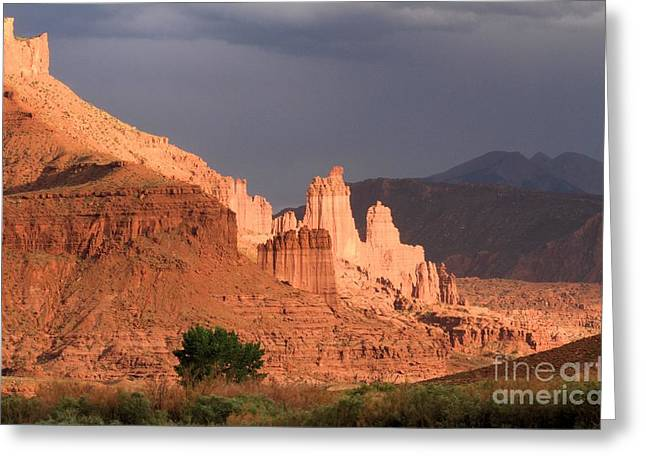 Southern Utah Greeting Cards - Storms Over Fisher Towers Greeting Card by Adam Jewell