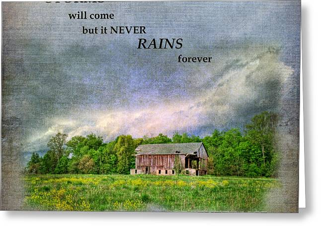 Old Barns Digital Art Greeting Cards - Storms Will Come Greeting Card by Pamela Baker